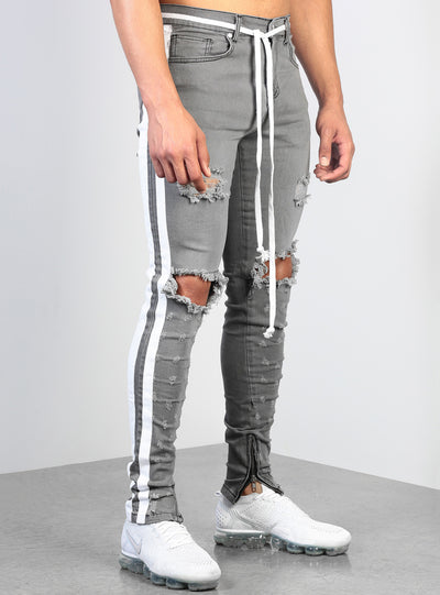 Double Striped Track Jeans V2 in Light Grey and White