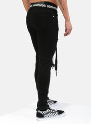 Jet Black Distressed Jeans V1