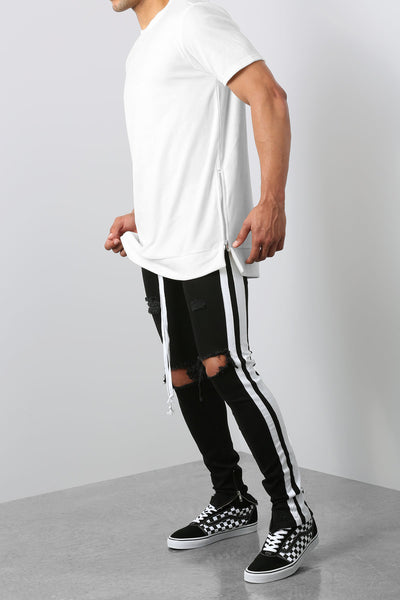 Double Striped Track Jeans in Black and White