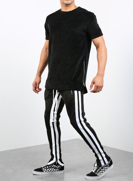 Double Striped Track Pants V2 in Black and White