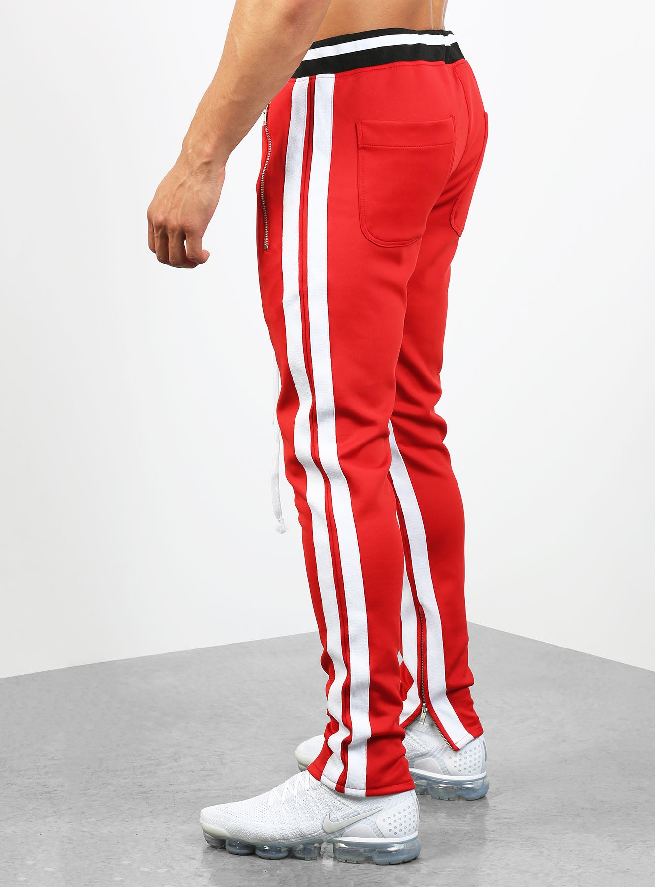 double striped track pants v2 in red and white hoodstore hoodstore