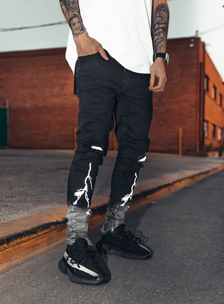 Reflective Thunder Jeans in Black