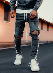 Double Striped Track Jeans V2 in Dark Grey and White