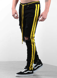 Double Striped Track Jeans V2 in Black and Yellow