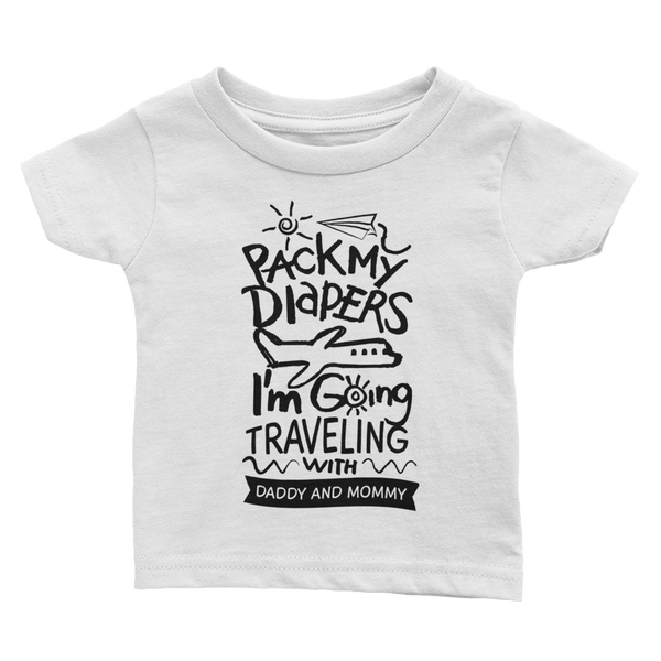 Travel with Daddy & Mommy White Infant Tee