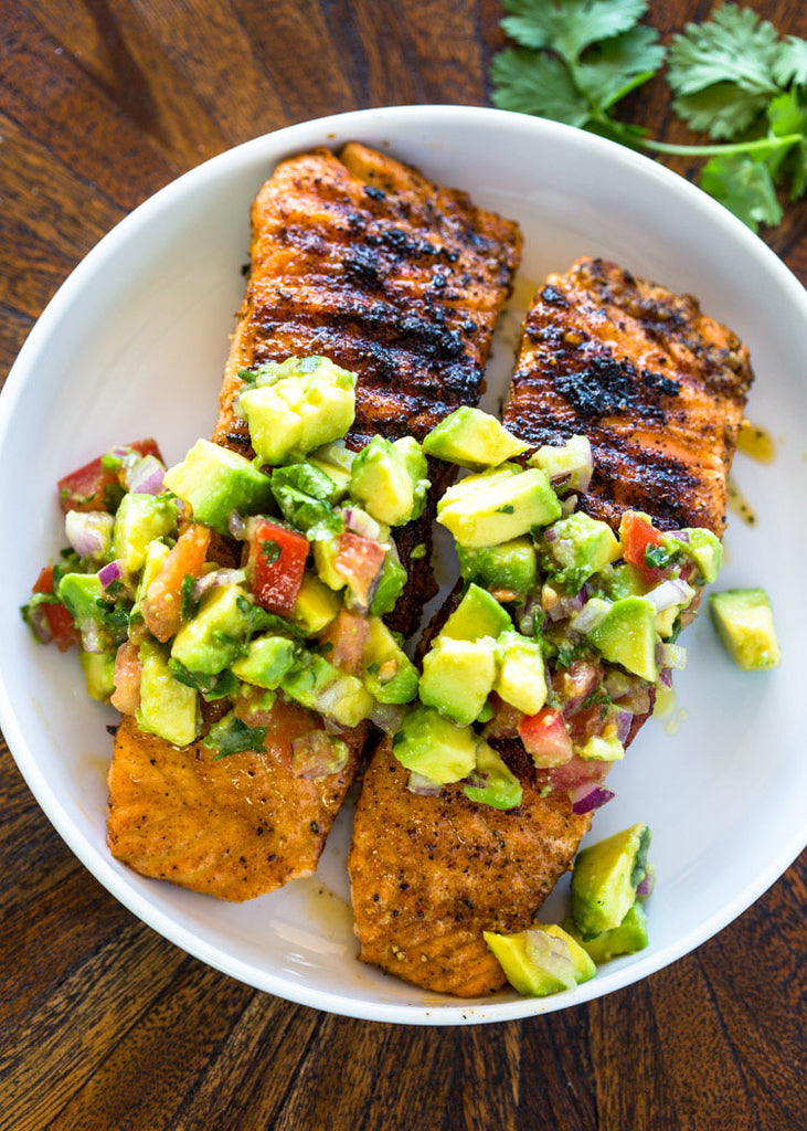 Salmon with Avocado Salsa & Brussels sprouts