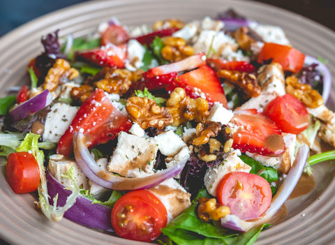 Strawberry and Candied Walnut Chicken Salad