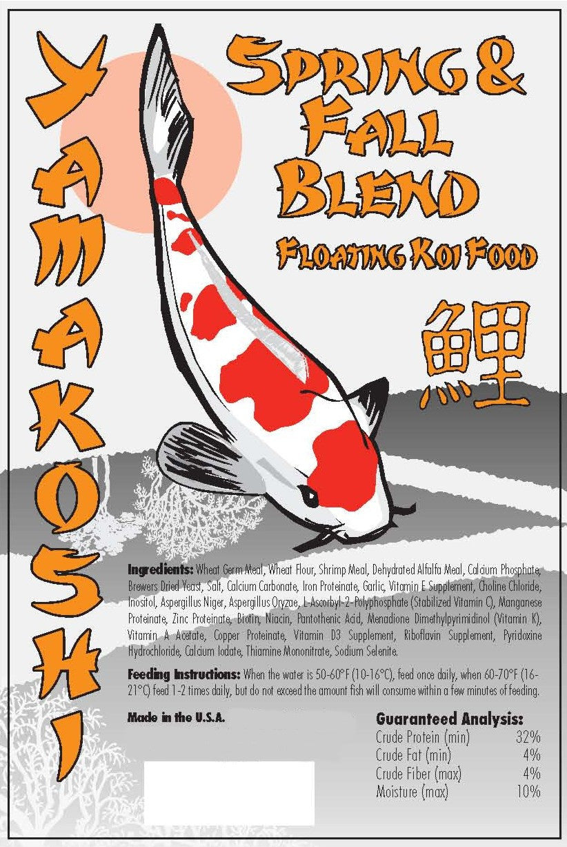 20 Pound Box YAMAKOSHI Spring & Fall 3-Season Pellets Pond Koi Food *All Natural No GMOS Infused with Pro Biotics*