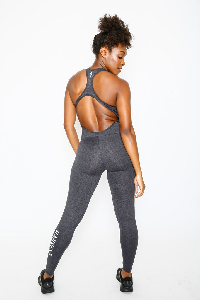 Heather Grey Harvest Sport Back Bodysuit