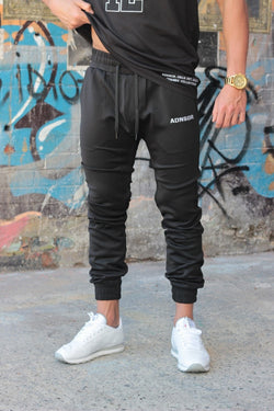 ADNSGR (Black/White) Track Pants - Be Activewearman