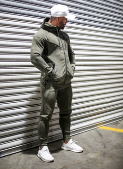 Khaki RGFT Thermal Straight-Leg Trackpants