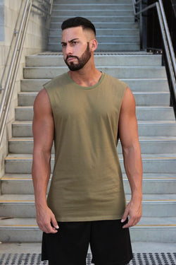 Essentials (Khaki) Muscle Tank - Be Activewearman