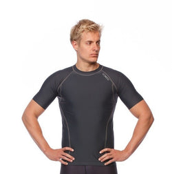 Mens Short Sleeve Compression Top - Grey - Be Activewearman