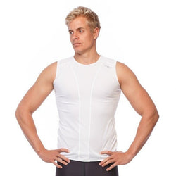 Mens Compression Tank Top - White - Be Activewearman