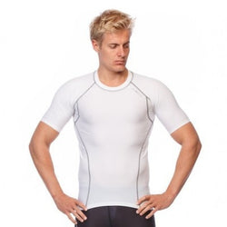 Mens Short Sleeve Compression Top - White - Be Activewearman