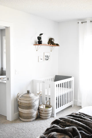 Minimal Nursery Nook and Baby Essentials – Sēm Label on crib in our bedroom, nursery in guest bedroom, baby crib in bedroom, nursery sets and collections,