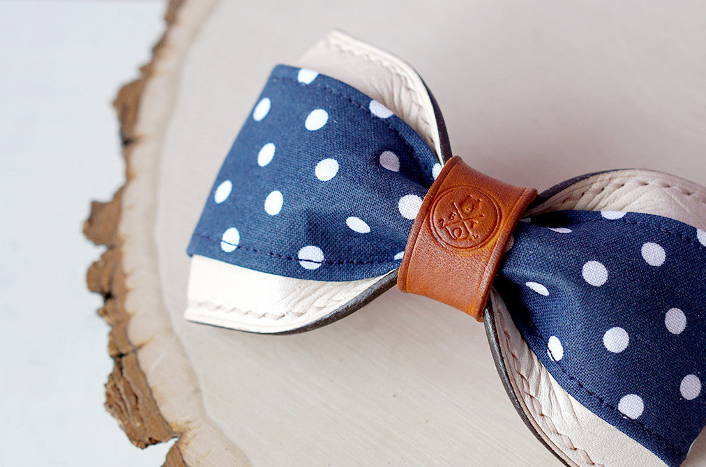 Benjamin || Navy Blue Polka Dot