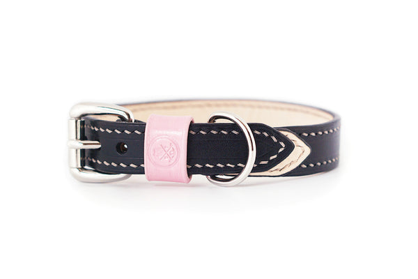 Bearytail Signature Leather Collar || Black & Blush