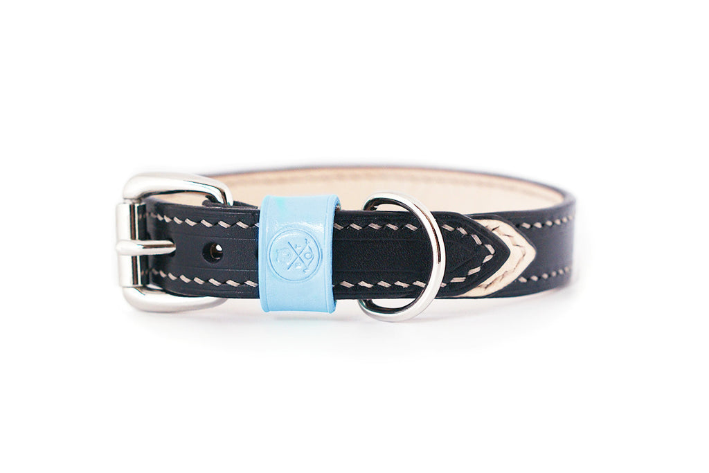 Bearytail Signature Leather Collar || Black & Ice Blue
