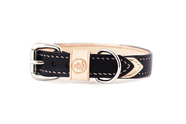 Bearytail Signature Leather Collar || Black & Veg Tan