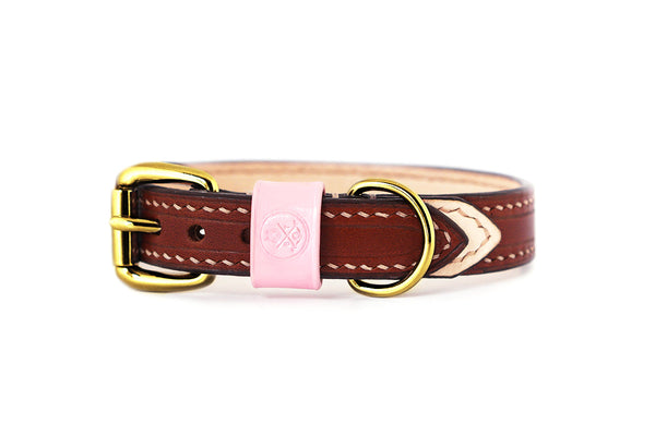 Bearytail Signature Leather Collar || Brown & Blush
