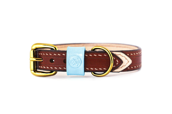 Bearytail Signature Leather Collar || Brown & Ice Blue