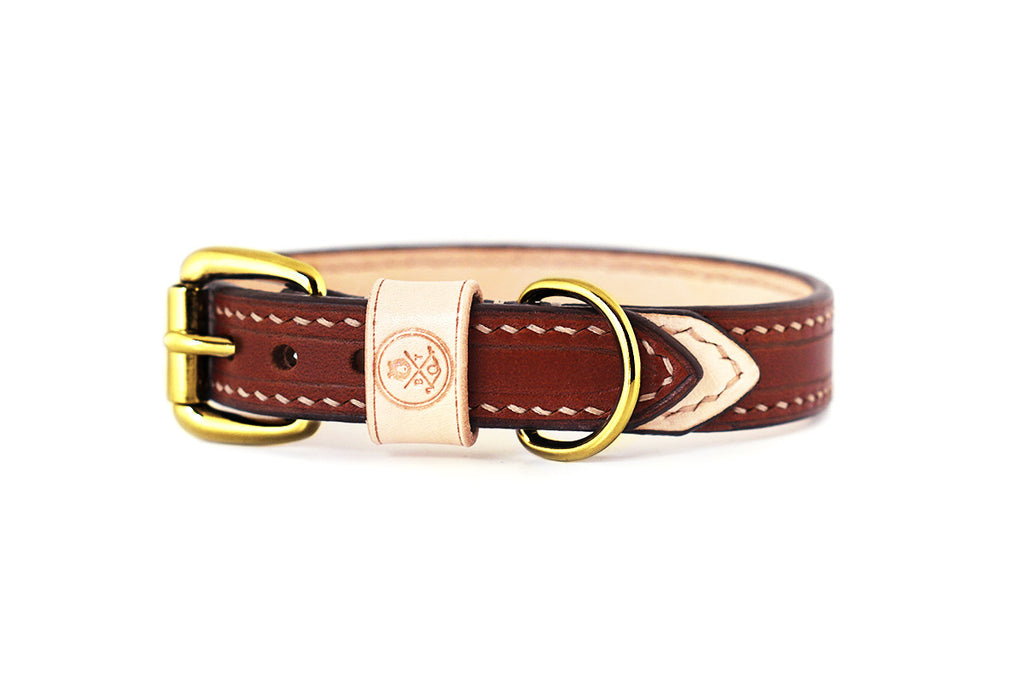 Bearytail Signature Leather Collar || Brown & Veg Tan