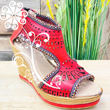Red Spring Wedges Women Shoes