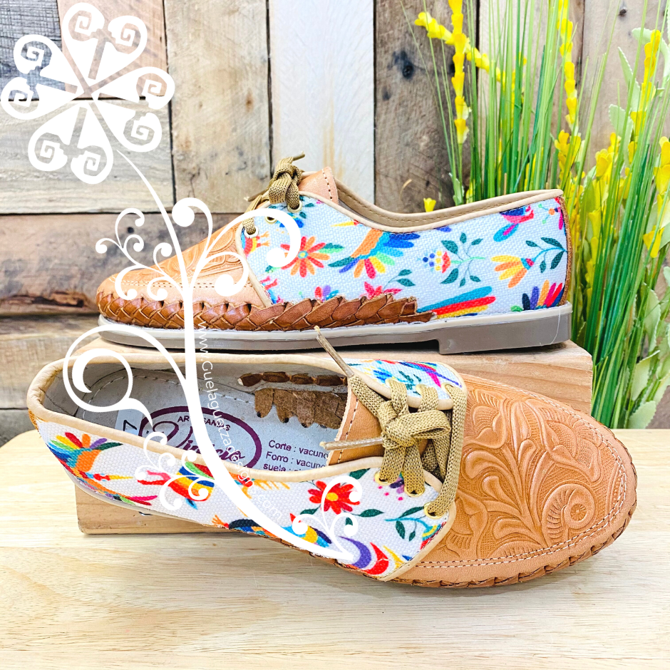 White Multicolor Otomi - Loafers Artisan Leather Women Shoes