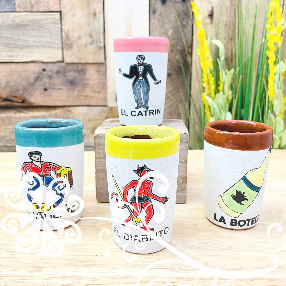 Loteria Clay Shot Glass - Set of 4