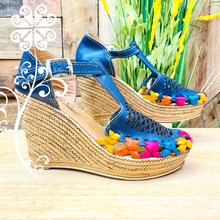 Blue with Diamonds Wedges Women Shoes