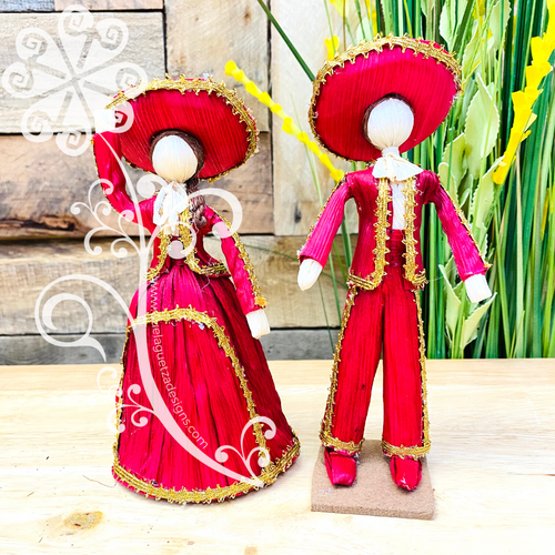 Small Mariachi Couple Corn Husk