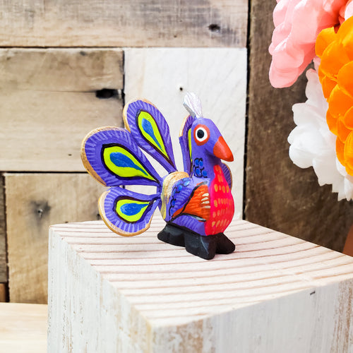 Mini Peacock Alebrije Handcarve Wood Decoration Figure
