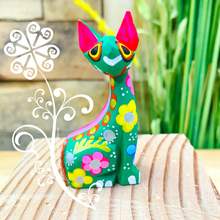Mini Egyptian Cat Alebrije Handcarve Wood Decoration Figure