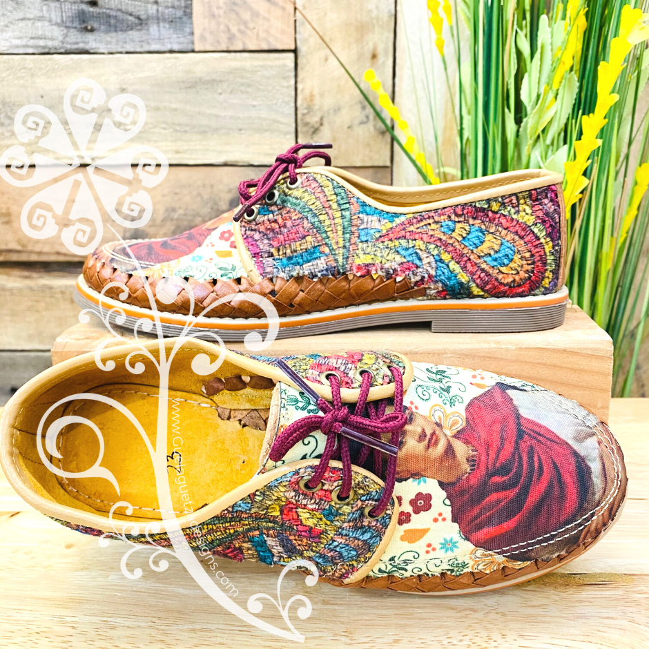 Frida Red Scarf/Feathers - Loafers Artisan Leather Women Shoes