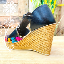 Black w/Embroider Wedges Women Shoes