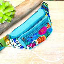 Teal Embroider Fanny Pack - 3 pockets