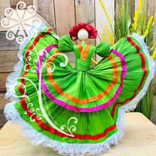 Large Corn Husk Doll - Wide Skirt