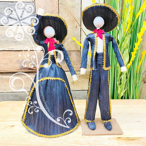 Medium Mariachi Couple Corn Husk