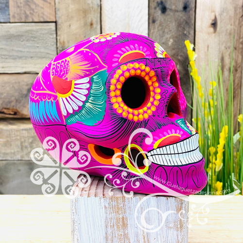 Extra Large Hand Painted Sugar Skull  - Calaverita Guerrero