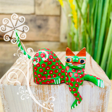 Mini Cat Down Alebrije Handcarve Wood Decoration Figure