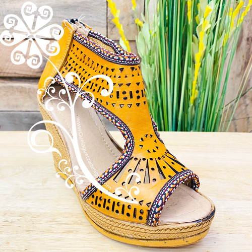 Yellow Spring Wedges Women Shoes