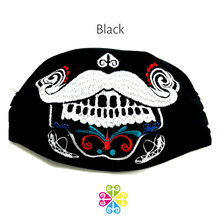 Catrin Embroider Facemasks- Day of the Dead Design- Mustache- MEN