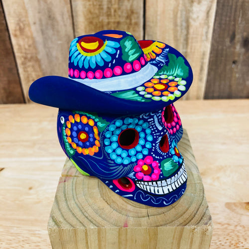 Medium Hand Painted Sugar Skull With Hat  - Calaverita Guerrero