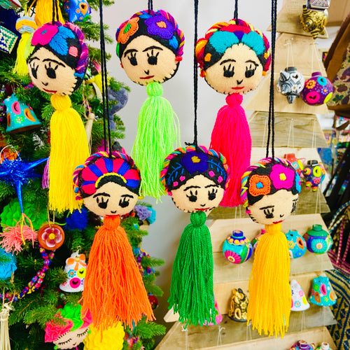Frida Pom Pom Ornament