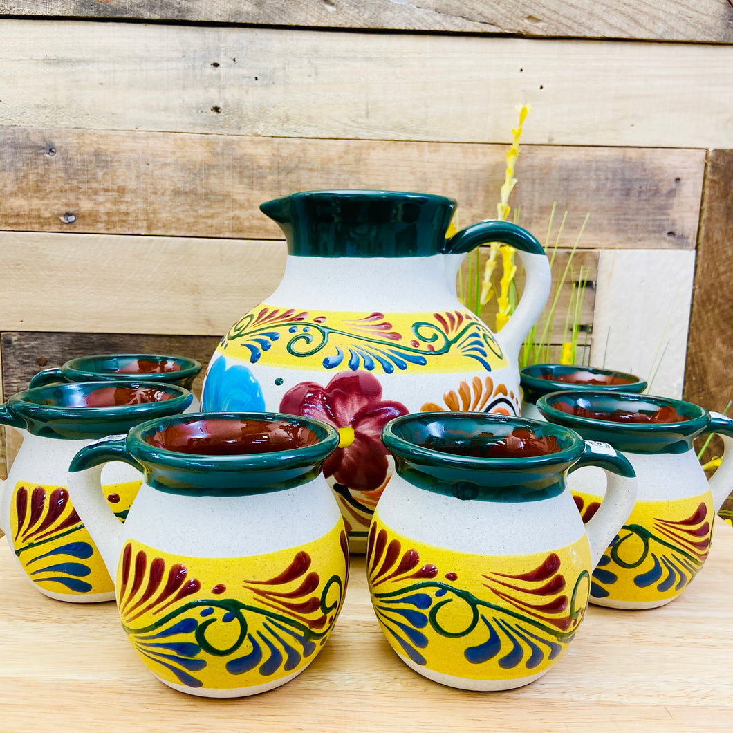 Clay Pitcher Set - 6 Mugs