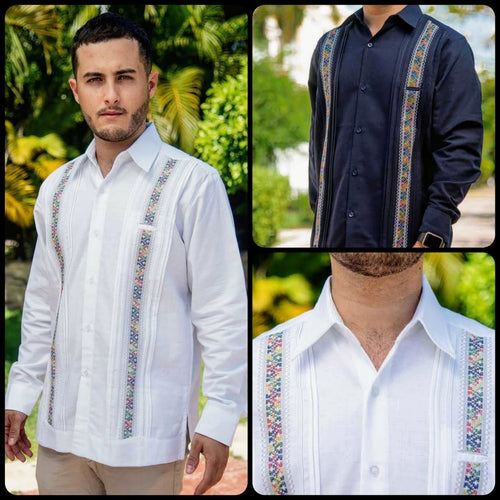 Linen Merida Guayabera- Multicolor Stripes