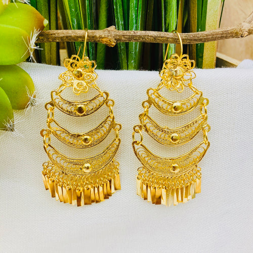 Gold Filigrana Artisan Earrings - Medium
