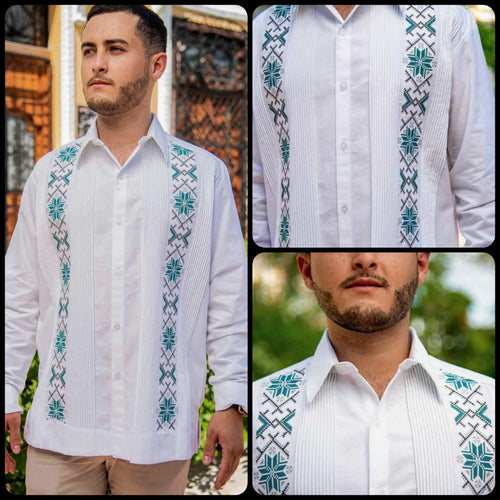 Linen Merida Guayabera- Green Flowers Stripes