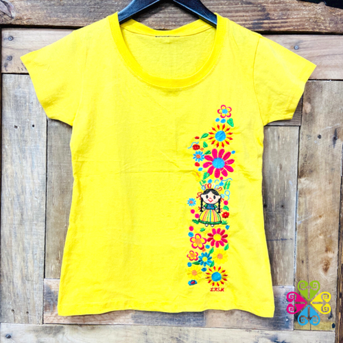 Embroider Women Tee- Mexican Doll